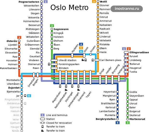 Карта метро Осло