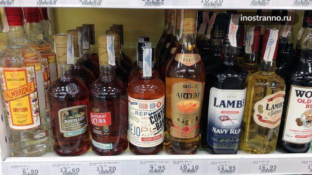 Цены на алкоголь в магазине в Испании, Тенерифе
