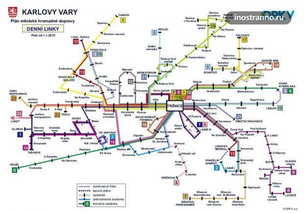 Карта автобусов в Карловых Варах