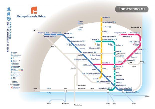 Карта метро в Лиссабоне