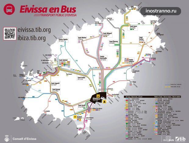 Остров Ибица карта автобусных маршрутов