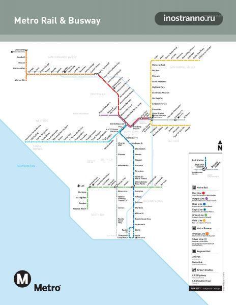 Карта метро Лос-Анджелеса