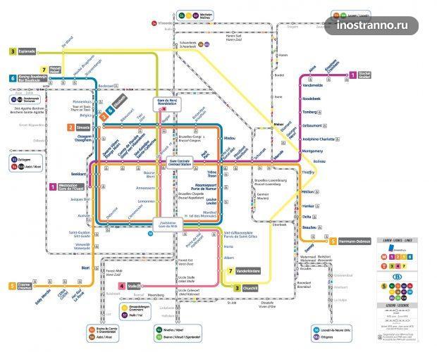 Карта схема метро Брюсселя