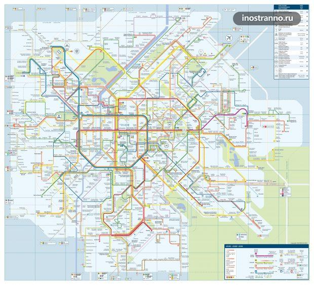 Карта схема метро трамваев автобусов Брюсселя