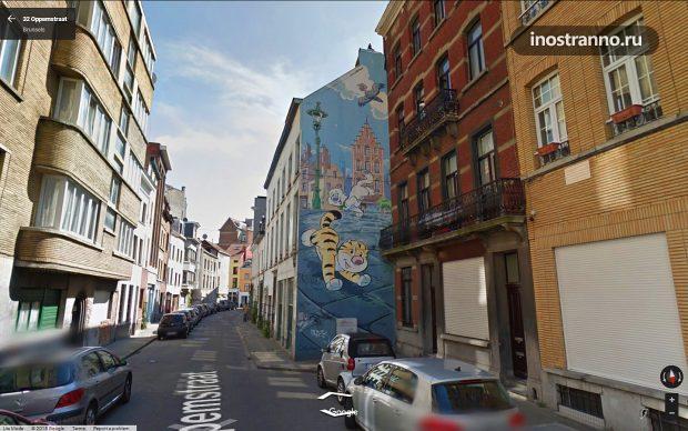 Граффити в Брюсселе комикс Billy the Cat