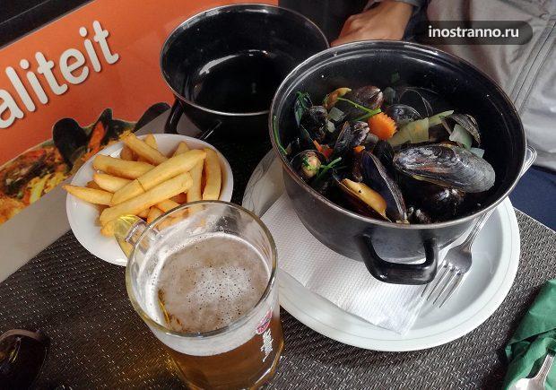 Свежие бельгийские мидии, цена в ресторане Остенде