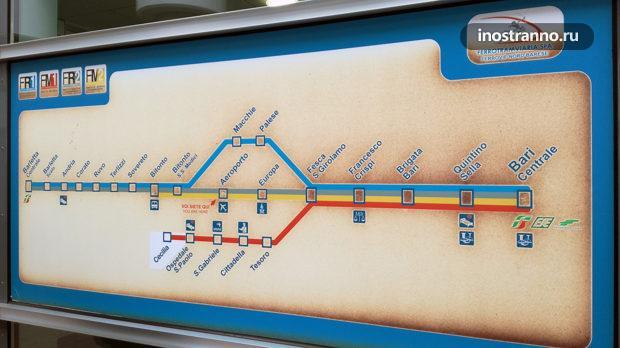 Карта электричек Бари, метро Бари