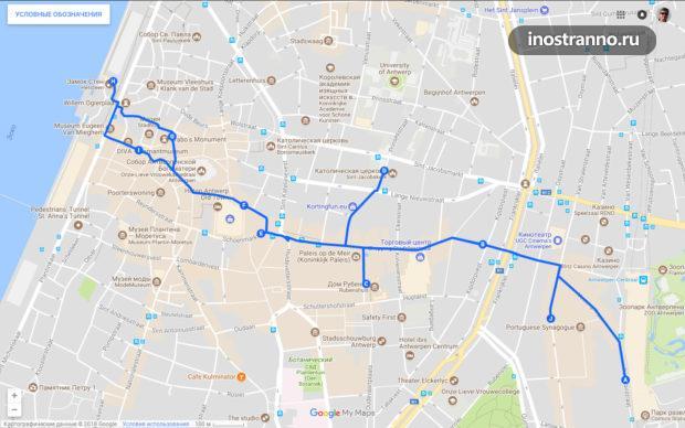 Карта маршрута по Антверпену