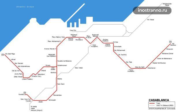 Касабланка трамвай карта маршрутов