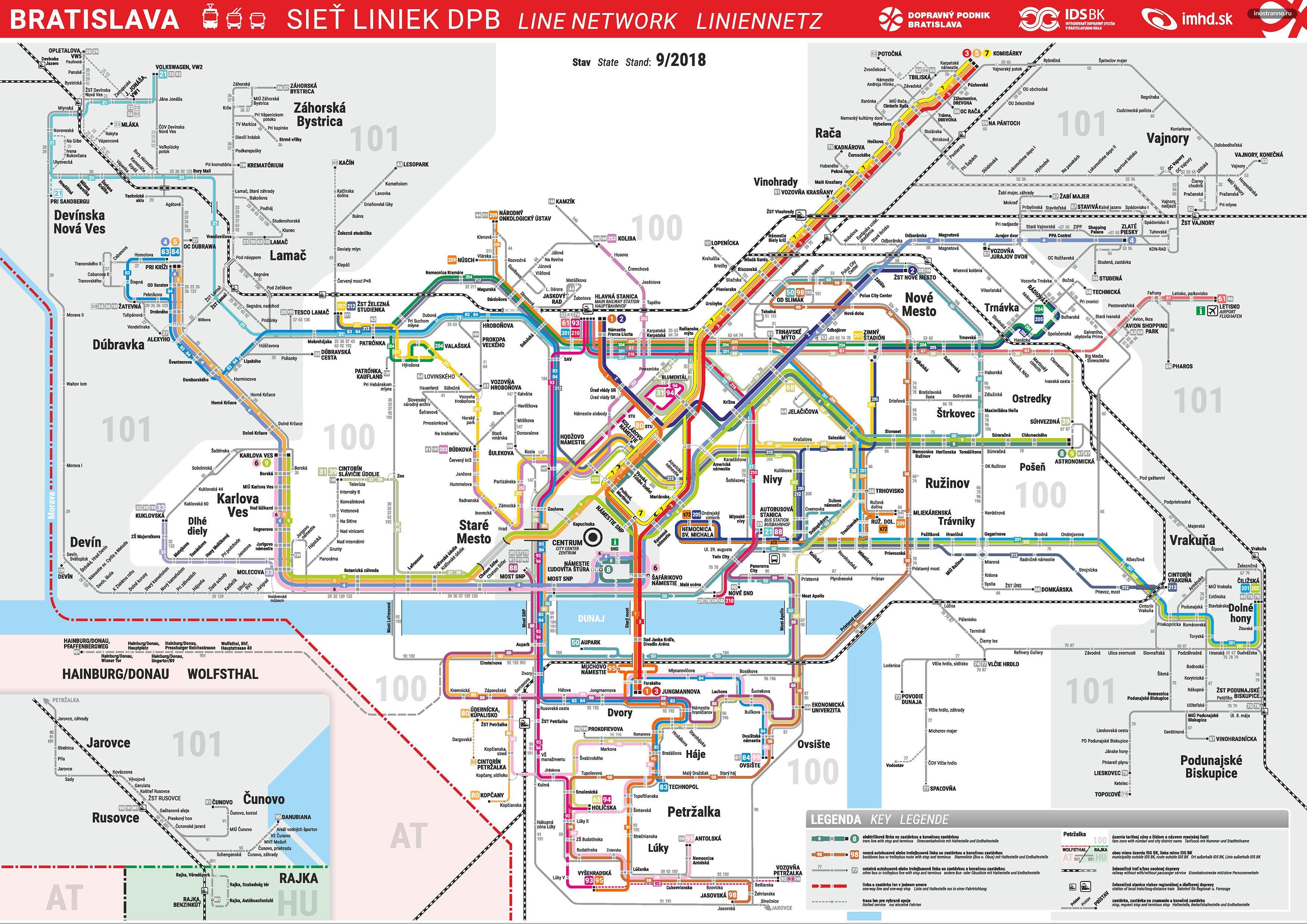 Карта схема трамваев и автобусов Братиславы