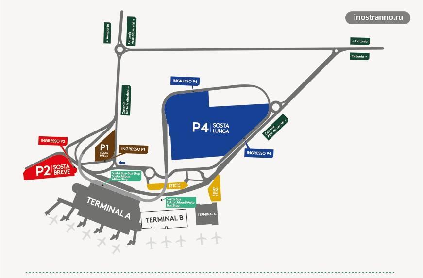 Карта терминалов аэропорта Катании Фонтанаросса