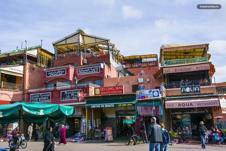 Площадь Джема-эль-Фна достопримечательность в Марракеше