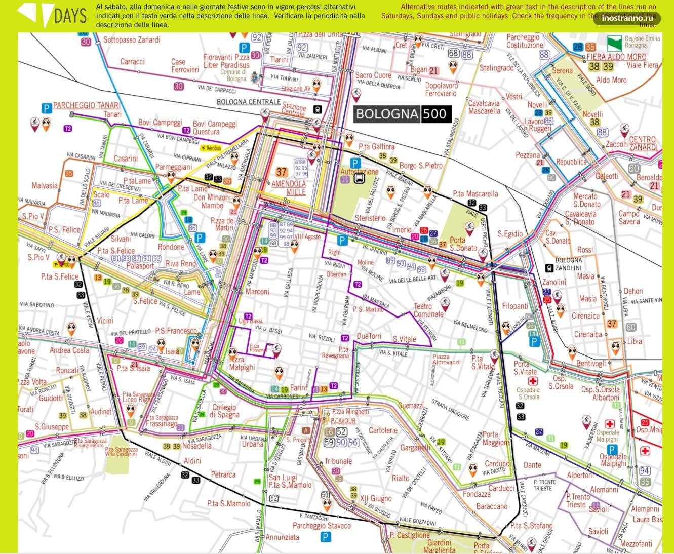 Карта автобусов и троллейбусов Болоньи