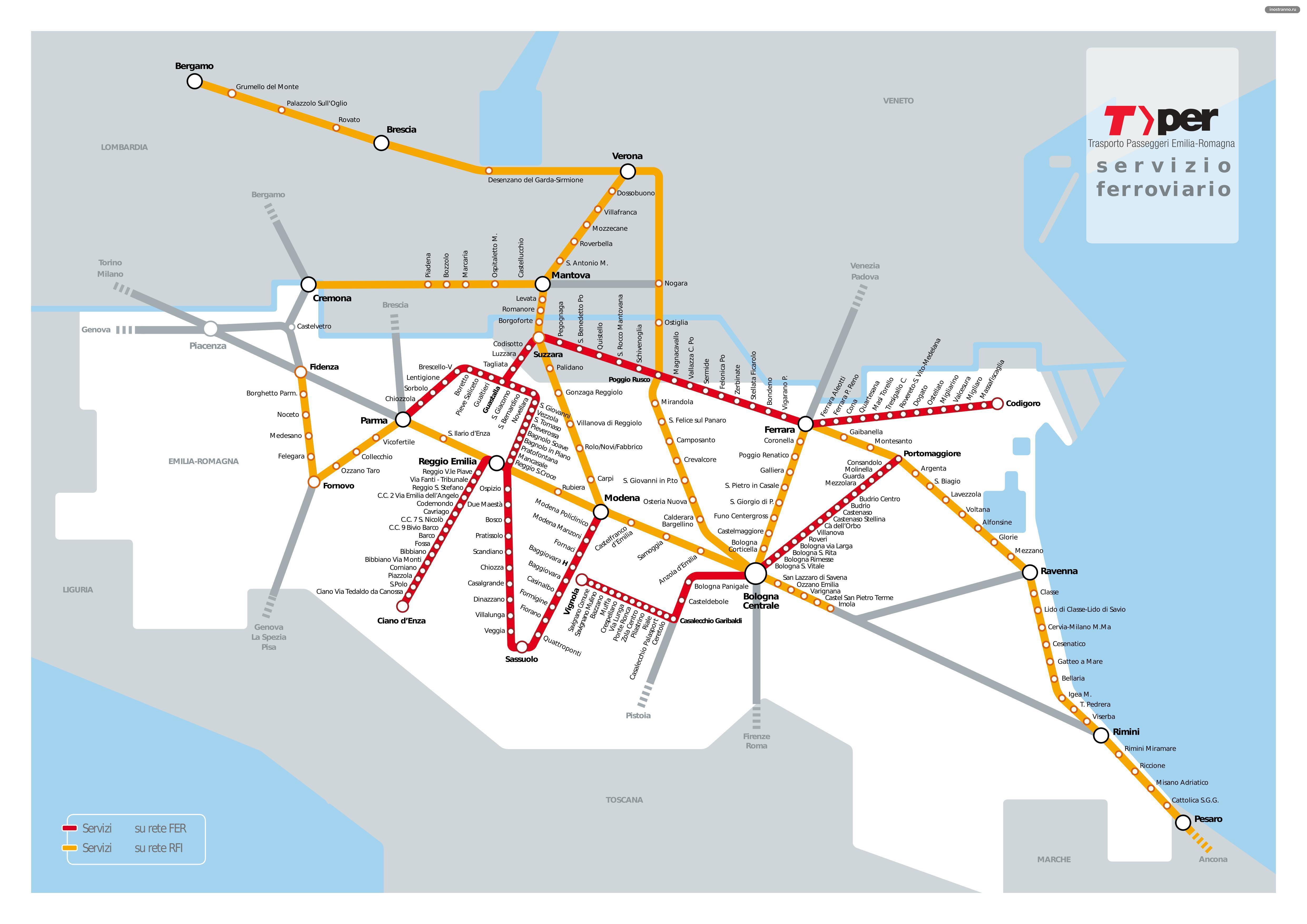 Карта электричек Болоньи как добраться до Вероны, Модены, Пармы, Римини