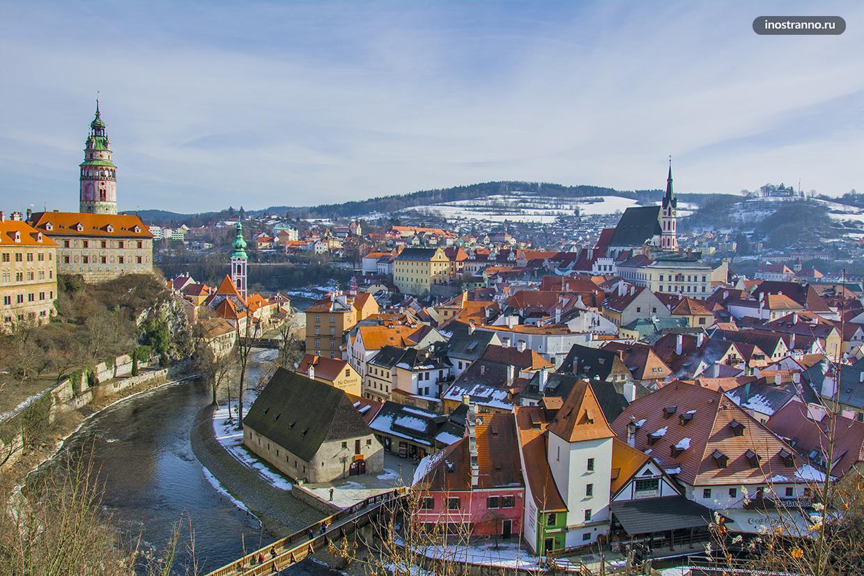 Вид на Чешский Крумлов с высоты