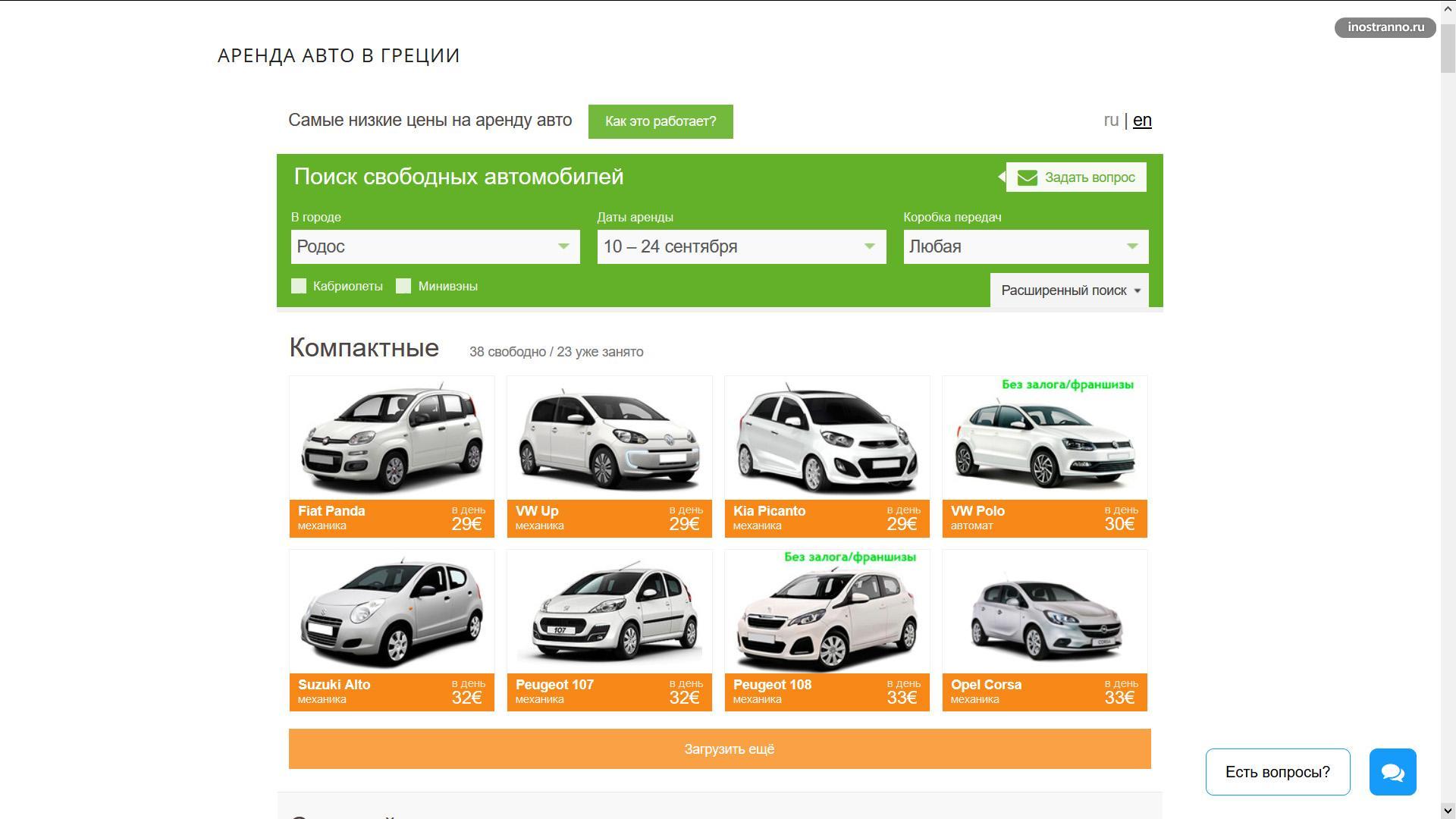 Цены на аренду авто на Родосе