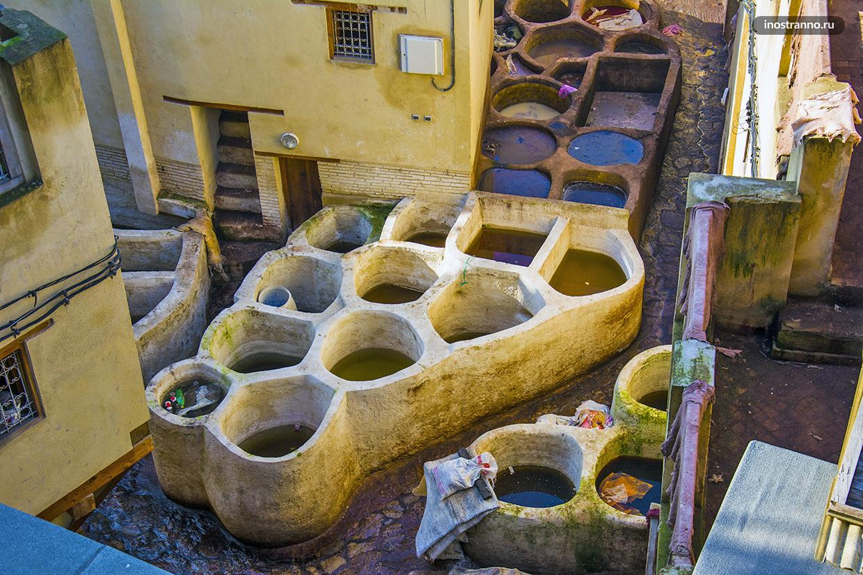 Самые старые кожаные красильни Сиди в Фесе