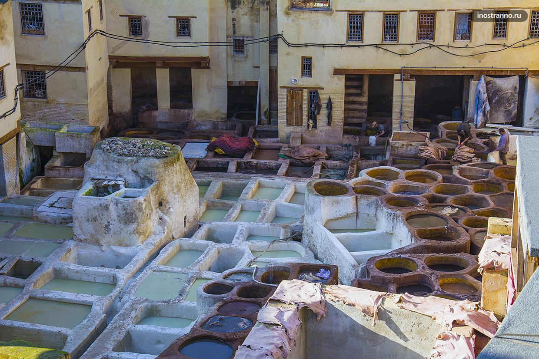 Посещение красилен в городе Фес, Марокко