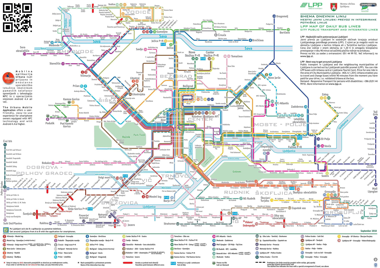 Карта дневных маршрутов в Любляне