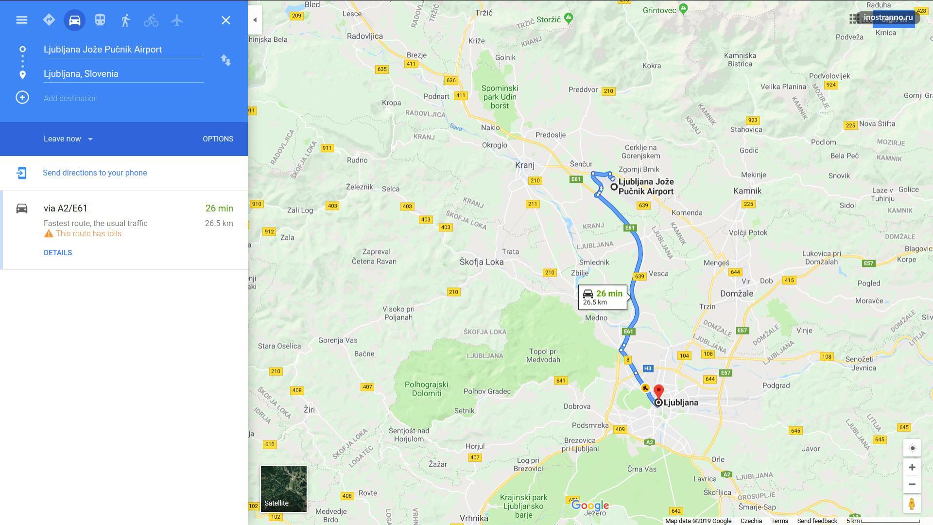 Как добраться до аэропорта Любляны