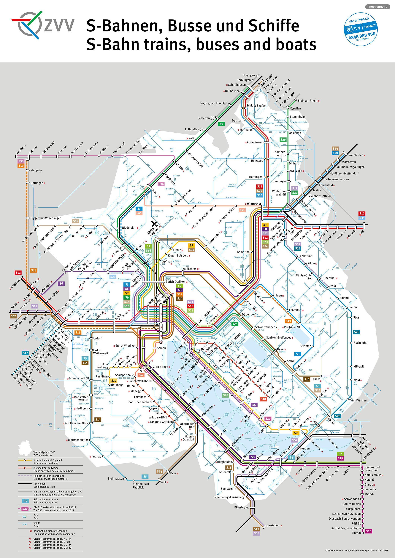 Карта пригородных электричек Цюриха