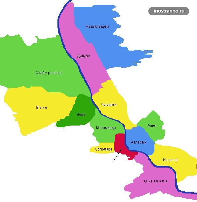 Карта районов Тбилиси где лучше в отеле остановиться
