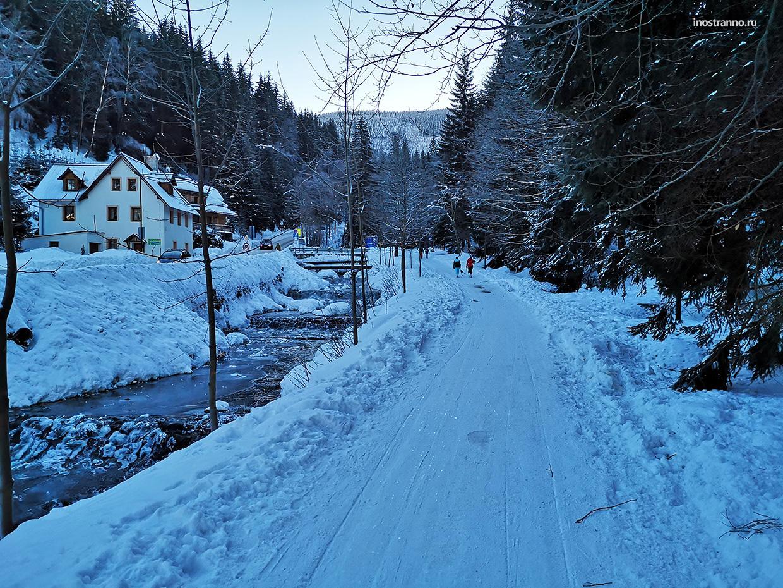 Город в Чехии зимой
