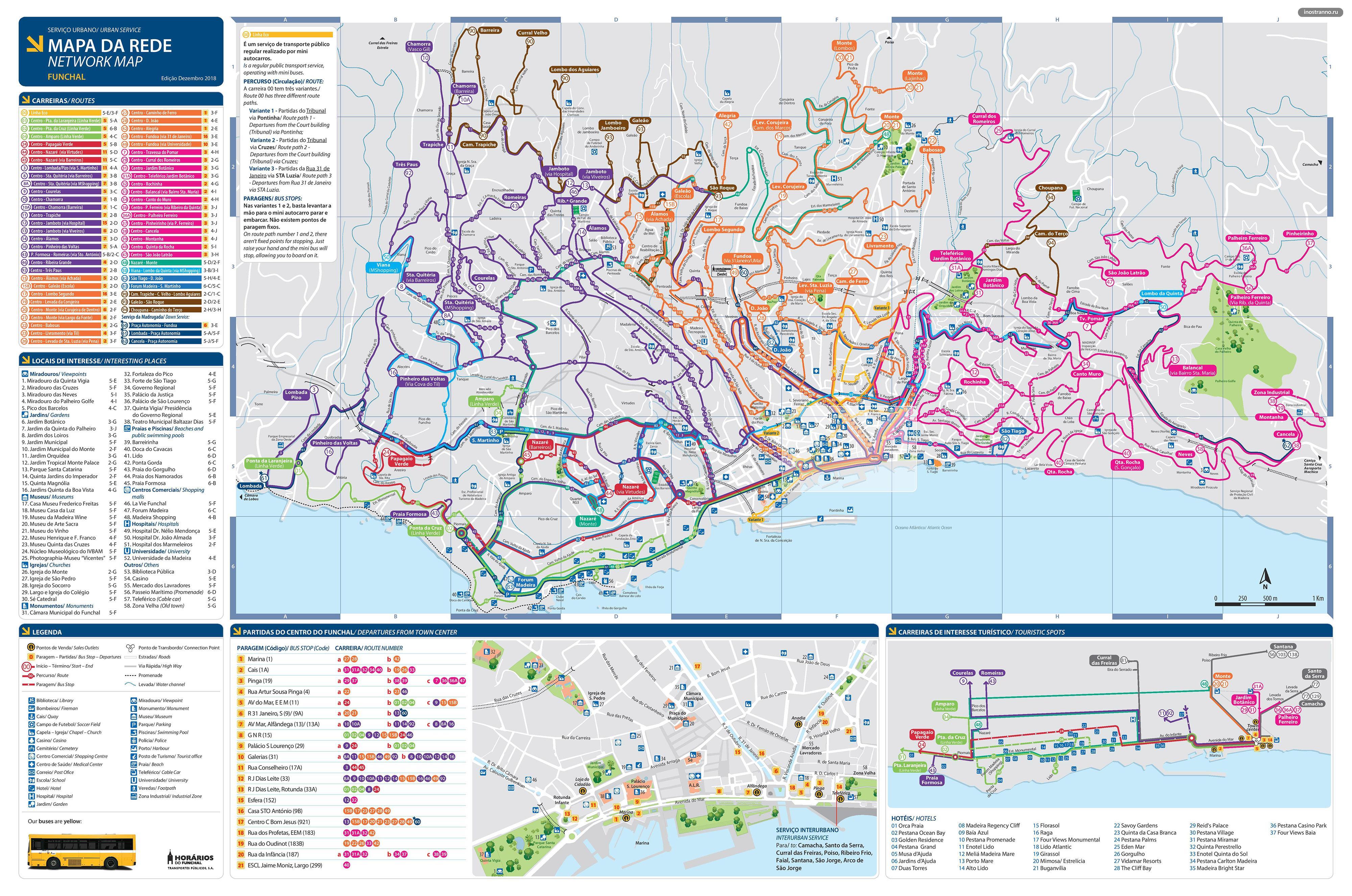 Фуншал карта автобусных маршрутов и общественного транспорта