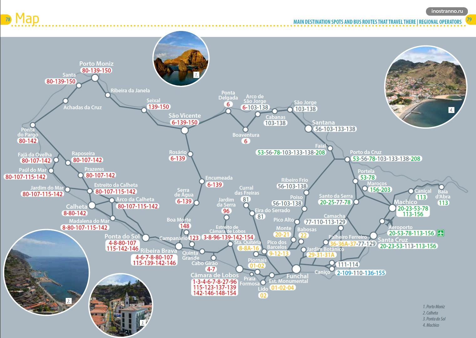 Мадейра карта междугородних автобусных марщрутов