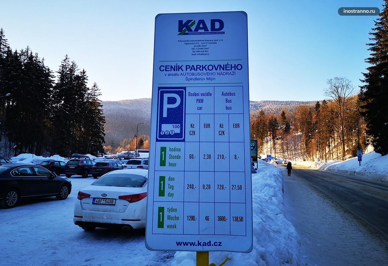 Шпиндлерув Млын парковка стоимость