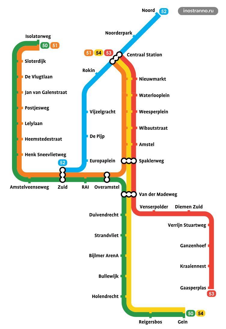 Карта метро Амстердама