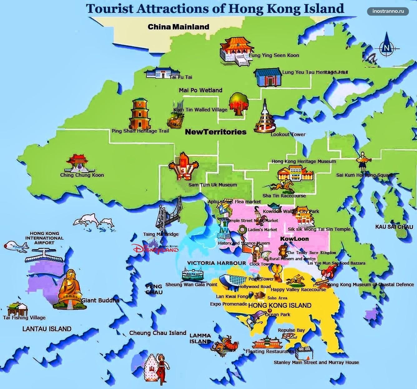 Карта Гонконга с достопримечательностями