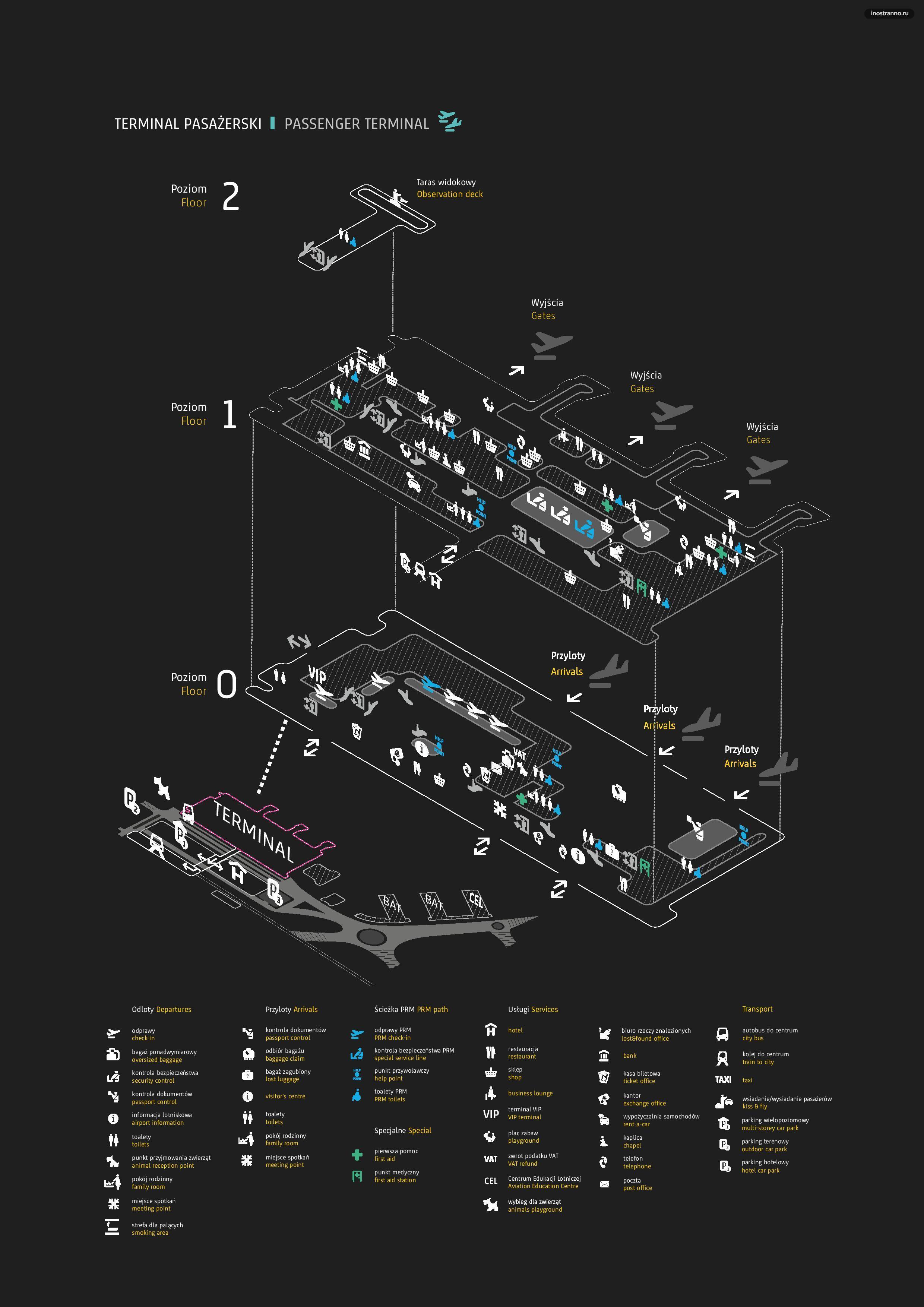 Аэропорт Кракова карта терминалов