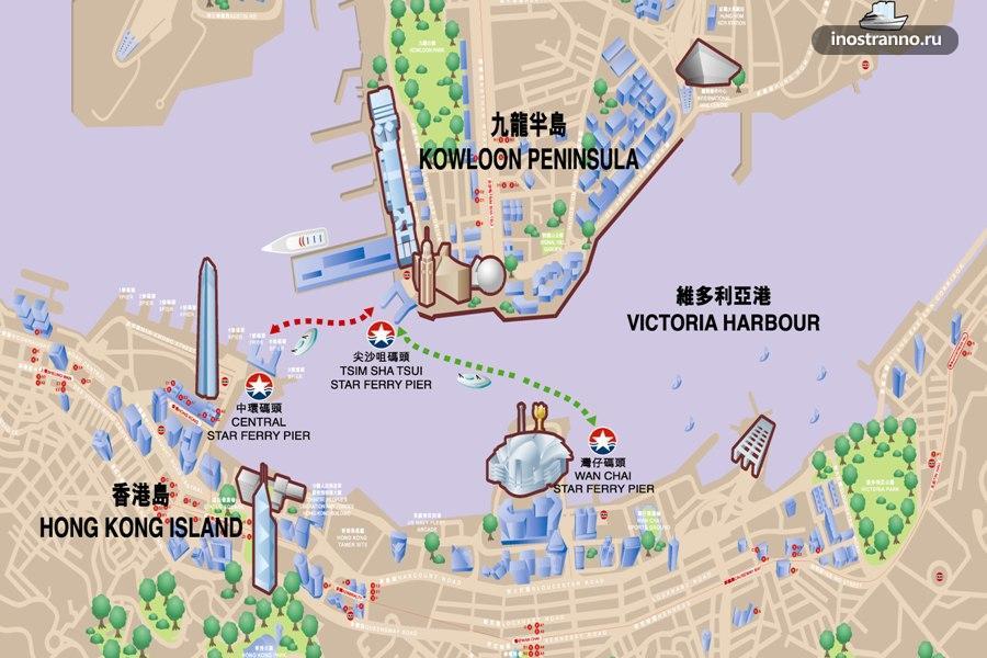 Карта пирсов и паромов в Гонконге