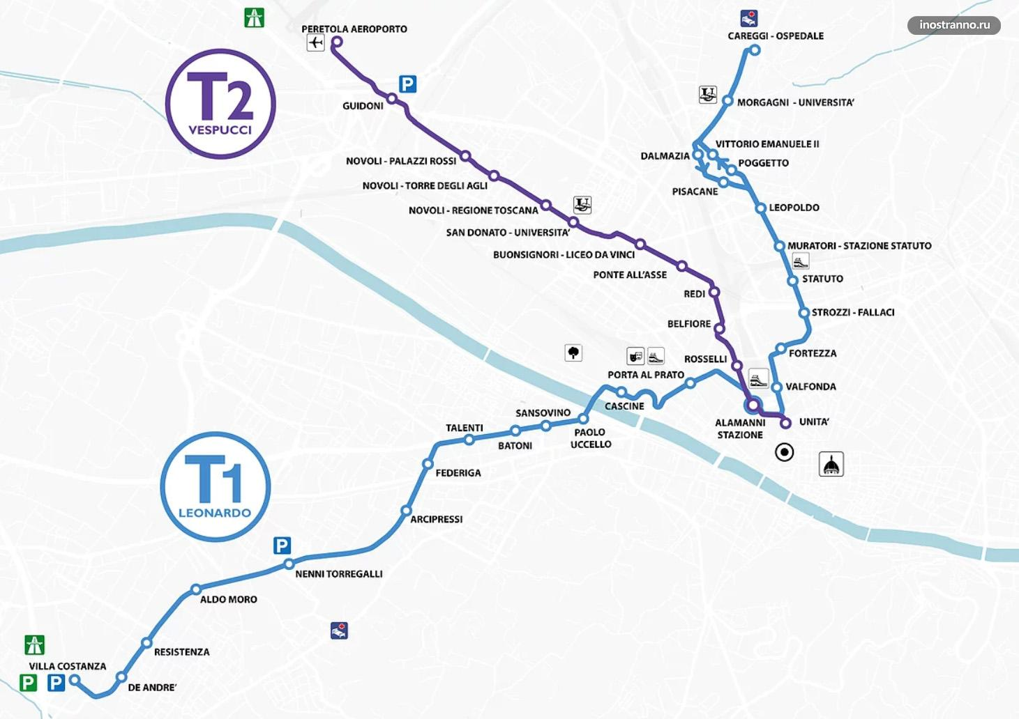Карта трамваев Флоренции