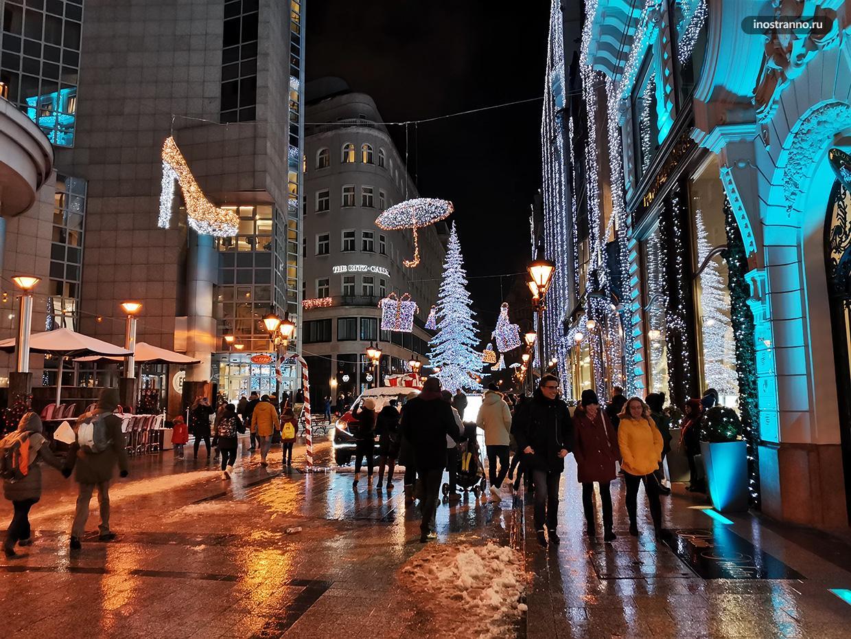 Украшения Будапешта на Рождество подсветка