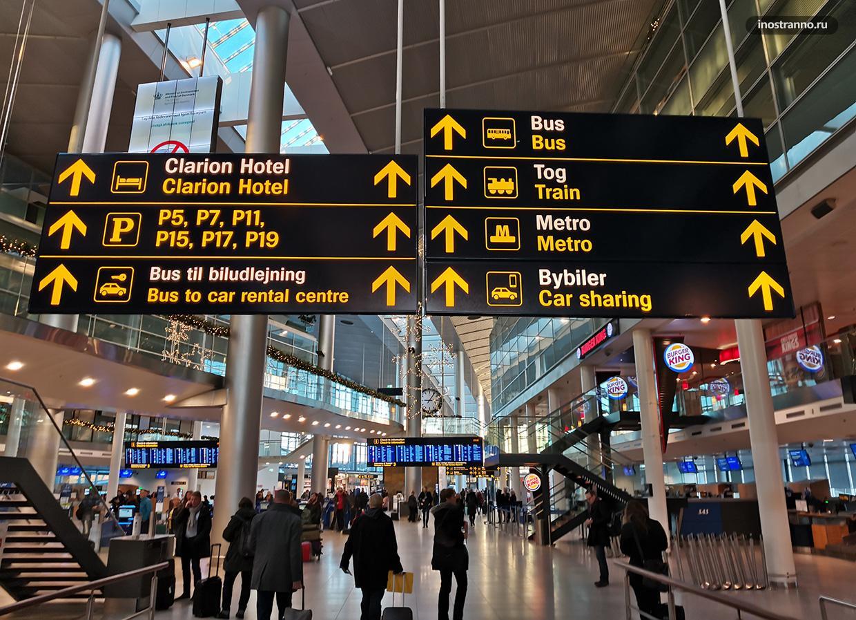 Аэропорт Копенгагена как добраться