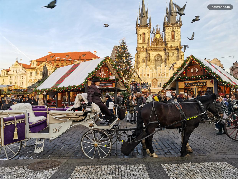 Староместская площадь в Праге на Рождество