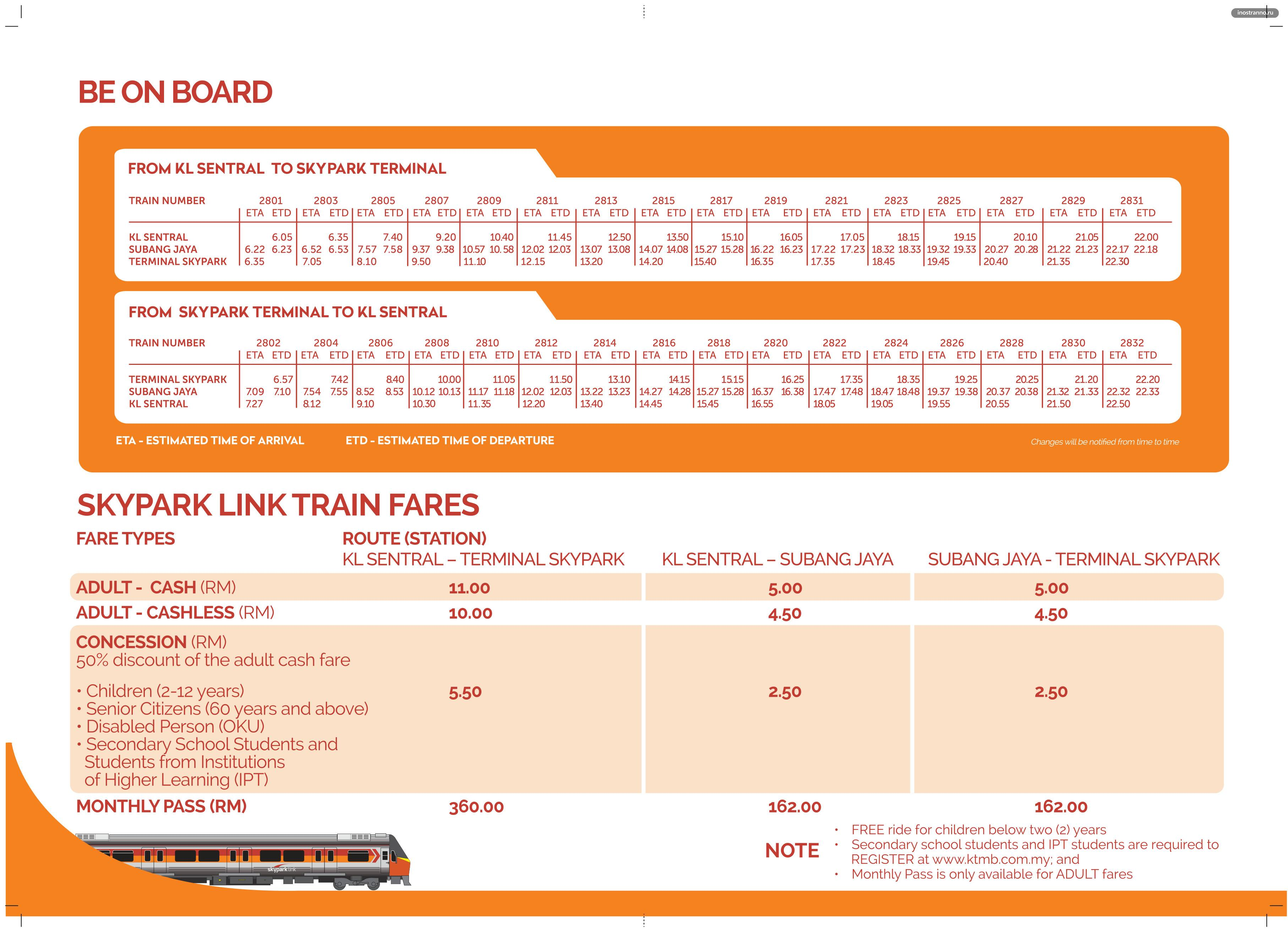 Расписание поездов в Куала-Лумпур SKYPARK LINK