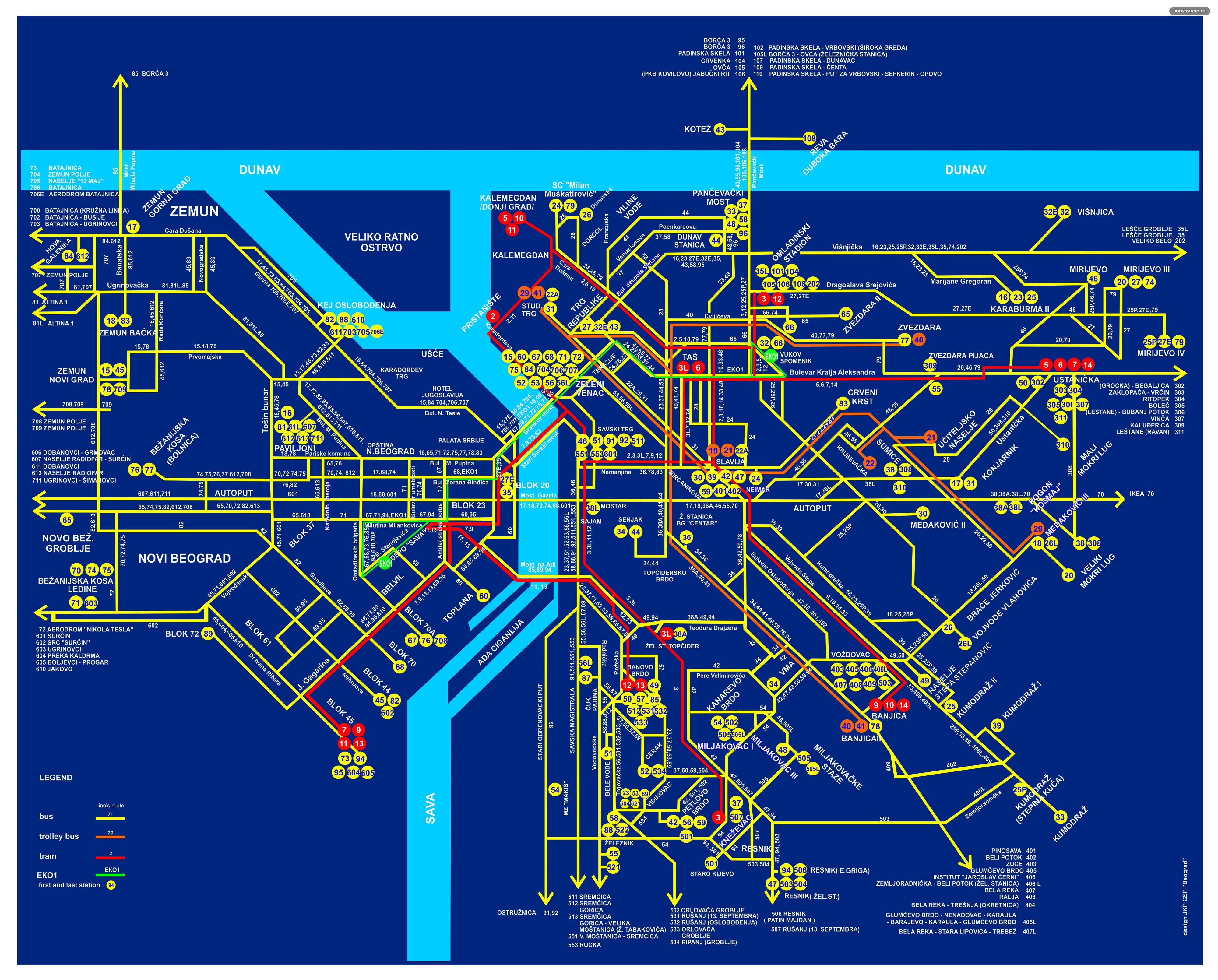 Белград карта автобусов, трамваев и троллейбусов