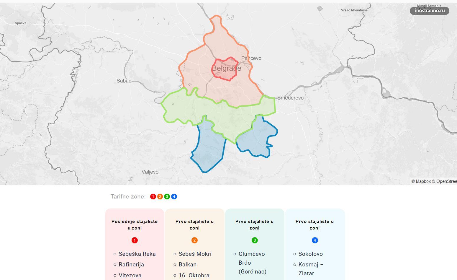 Белград тарифные зоны проезд в транспорте