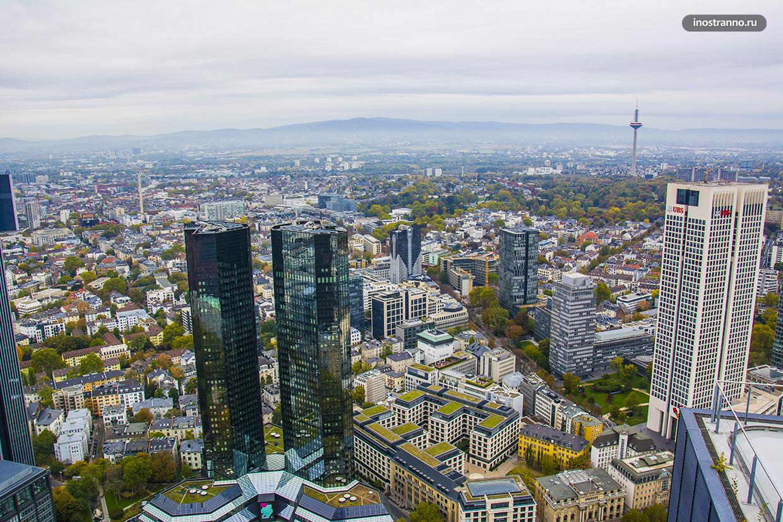 Панорама Франкфурта со смотрой площадки башни Main Tower