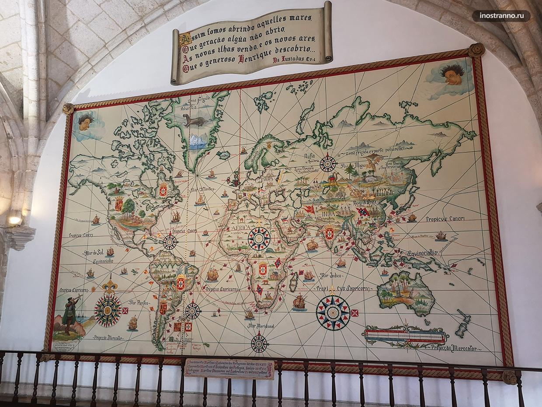Историческая карта в Морском музее Лиссабона