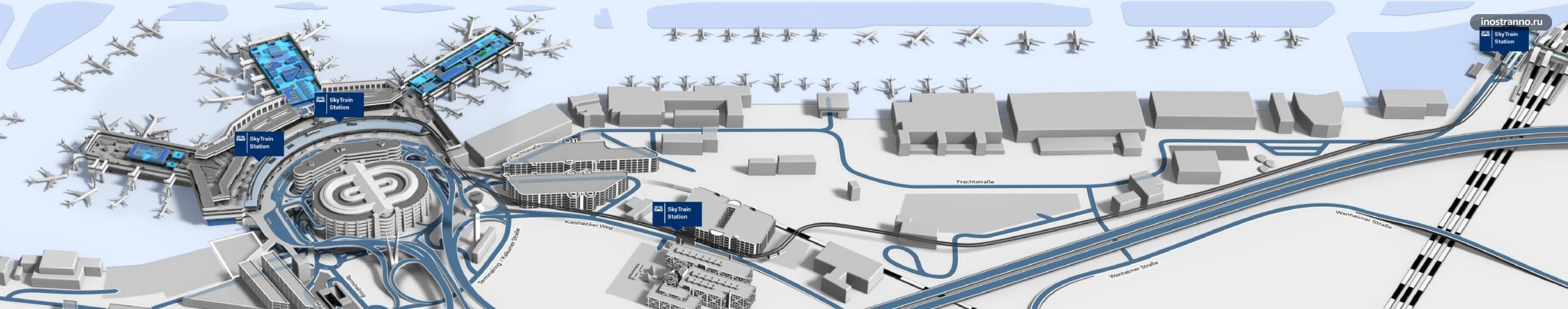 План движения монорельса в аэропорту Дюссельдорфа