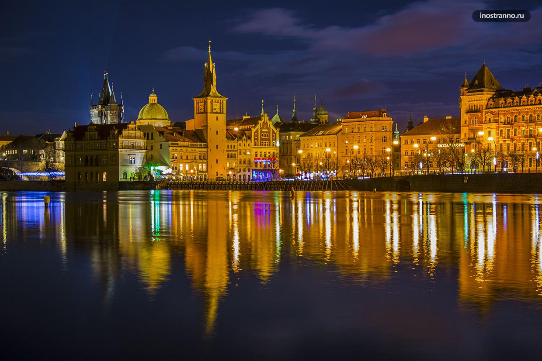 Красивая панорама Праги ночное фото