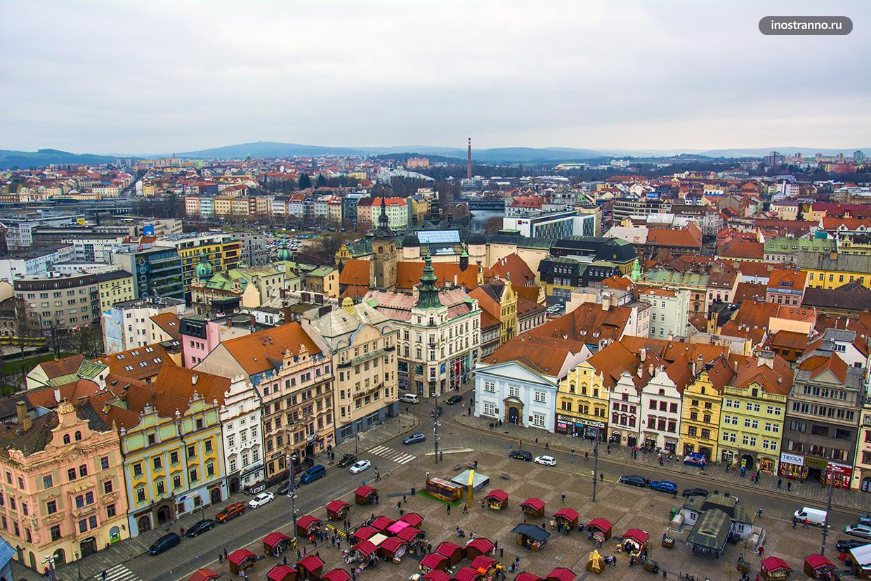 Пльзень город в Чехии с дрона