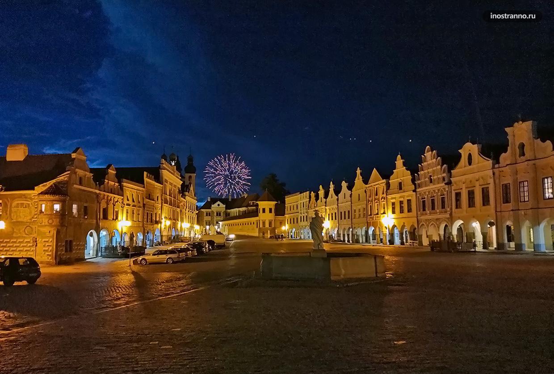 Чешский город Тельч ночью