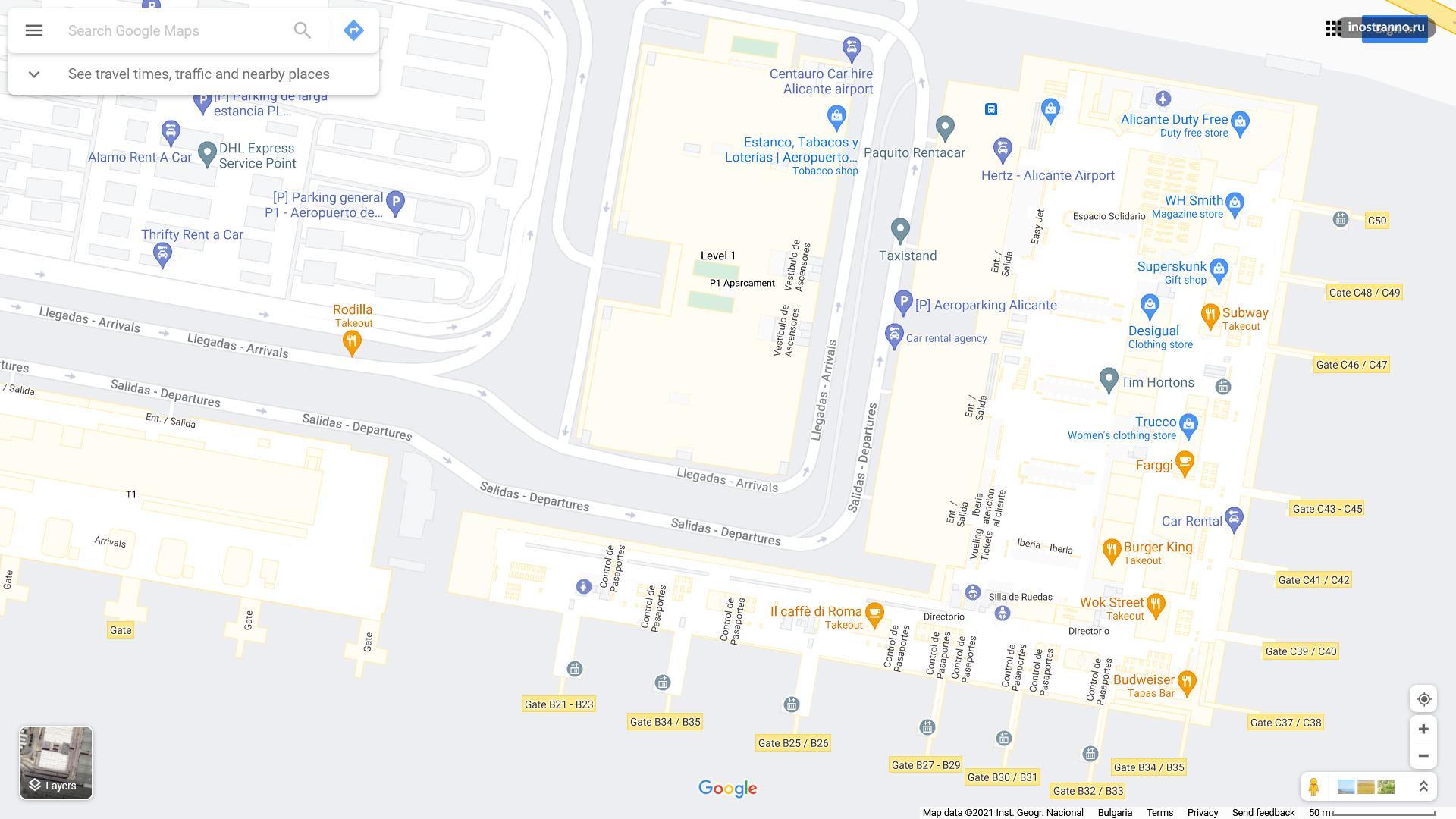 Аликанте аэропорт карта схема терминала